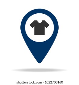 clothing store location in blue map pin icon. Element of map point for mobile concept and web apps. Icon for website design and development, app development. Premium icon on white background
