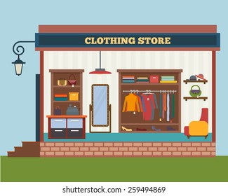 Clothing store. Man and woman clothes shop and boutique. Shopping, fashion, bags, accessories. Flat style vector illustration.