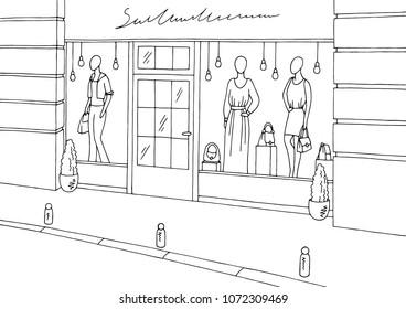 Clothing store shop exterior graphic black white boutique sketch illustration vector