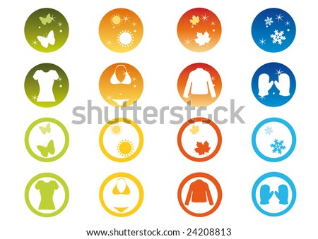 Clothing Symbols Winter Autumn Spring Summer Stock Vector Royalty