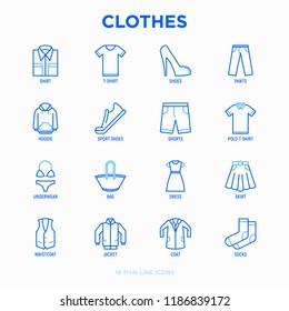 Clothing thin line icons set: shirt, shoes, pants, hoodie, sneakers, shorts, underwear, dress, skirt, jacket, coat, socks. Modern vector illustration.