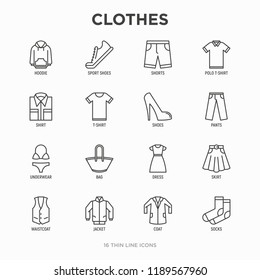 Clothing thin line icons set: shirt, shoes, pants, hoodie, sneakers, shorts, underwear, dress, skirt, jacket, coat, socks. Modern vector illustration.