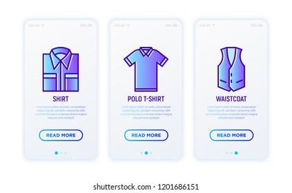 Clothing thin line icons set: folded shirt, polo t-shirt, waistcoat. Modern vector illustration.