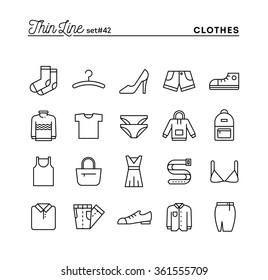 Clothing, thin line icons set, vector illustration