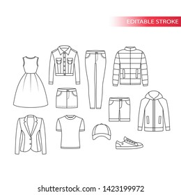 Clothing types thin line vector drawing set. Clothes outline sketches, dress, jeans jacket, t-shirt and ect. Fully editable.