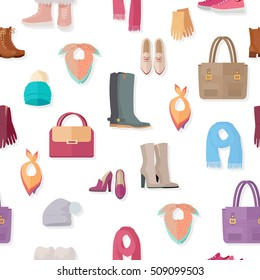 Clothing vector seamless pattern. Flat style illustration. Boots, gloves, bags, hats, scarfs, bandanas, shoes, illustrations on white background. For goods wrapping paper, stores ad, prints design