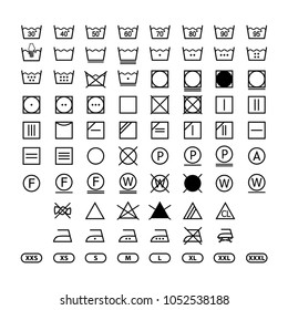 clothing washing label instructions, laundry symbols icon set, washing label icons for clothes