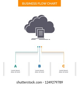 cloud, access, document, file, download Business Flow Chart Design with 3 Steps. Glyph Icon For Presentation Background Template Place for text.