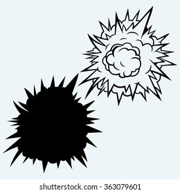 Cloud after the explosion. Isolated on blue background. Vector silhouettes