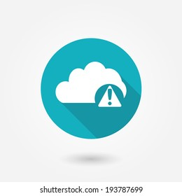 Cloud Alert Icon : Cloud Computing Concept in flat style with long shadow
