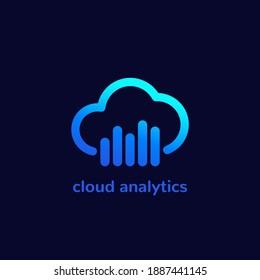 cloud analytics icon, vector logo