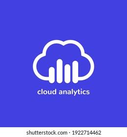 cloud analytics vector icon or logo