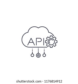 Cloud API, software integration line icon