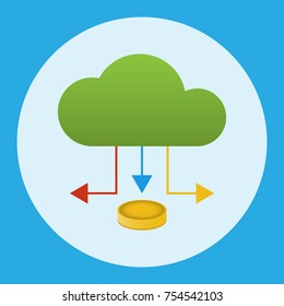 A cloud with an arrow under which a coin. Business concept. Vector illustration.
