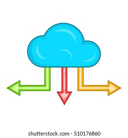 Cloud and arrows icon. Cartoon illustration of cloud and arrows vector icon for web design