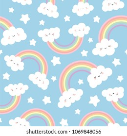 Cloud Background, Rainbow Seamless Pattern, Cartoon Vector Illustration, Blue  Sky Background for Kid