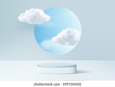 Cloud background vector 3d blue rendering with podium scene, minimal product display background cloud 3d rendered geometric shape sky cloud blue pastel. Stage 3d render product in platform background