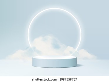 cloud background vector 3d blue render with podium and iceberg scene, minimal product display iceberg background 3d rendered neon shape sky cloud blue pastel. Stage 3d cloud render product in platform