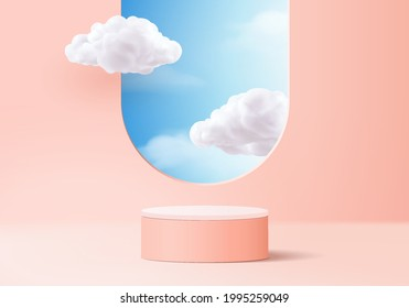 cloud background vector 3d pink rendering with podium and minimal cloud scene, minimal product display background 3d rendered geometric shape sky cloud pink podium. Stage 3d render product in platform
