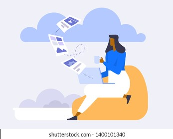 Cloud Backup. Man with laptop. Network cloud service. Migration. Backup concept. Copying file. Server. Data Center. Database Synchronize Technology. Flat design modern vector illustration concept.
