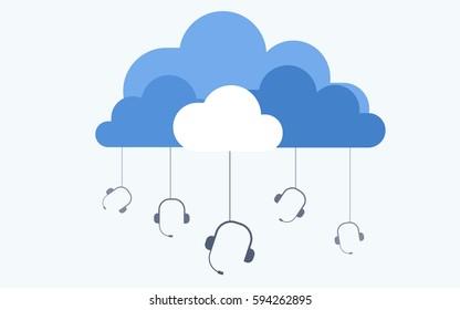 Cloud based call center flat vector illustration