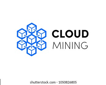 Cloud blockchain cryptocurrency logo for bitcoin or etherium innovation technology. Vector icon of hexagon cloud servers network for cryptocurrency mining or corporation