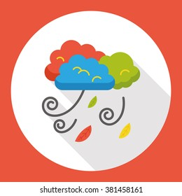 cloud blow flat icon