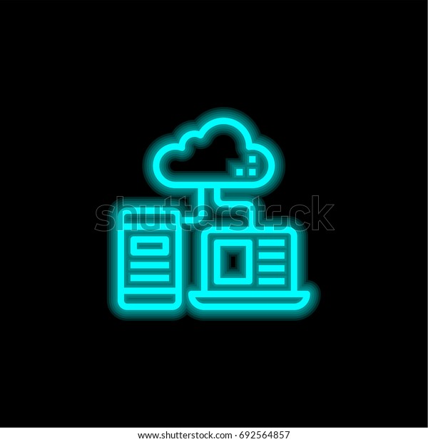 Cloud blue glowing neon ui ux icon. Glowing sign logo vector