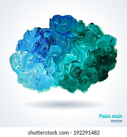 Cloud of blue and green oil paints isolated on white, abstraction composition. Vector design.