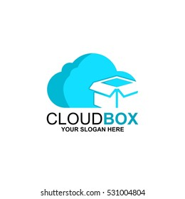 Cloud Box Modern Logo Design Vector
