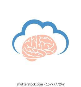 cloud and brain, vector logo icon