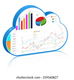 Cloud business process management concept: Blue 3d cloud with profit report inside it: spreadsheet and charts. Vector icon, isolated on white background.