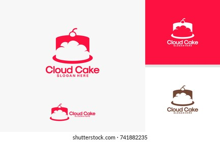 Cloud Cake logo designs template, Online Cake logo vector