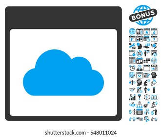 Cloud Calendar Page pictograph with bonus calendar and time management pictograph collection. Vector illustration style is flat iconic symbols, blue and gray, white background.