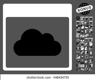 Cloud Calendar Page pictograph with bonus calendar and time management icon set. Vector illustration style is flat iconic symbols, black and white, gray background.