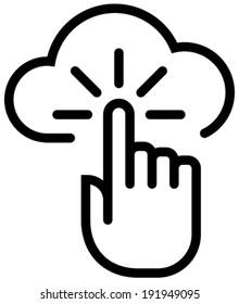 Cloud click outline vector icon