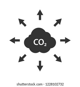 Cloud of CO2, carbon emission, pollution reduction icon. Ecology environment cleaning