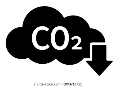 Cloud co2 pollution reduction vector icon