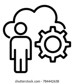 A cloud, cogwheel and a person representing the concept of management skills