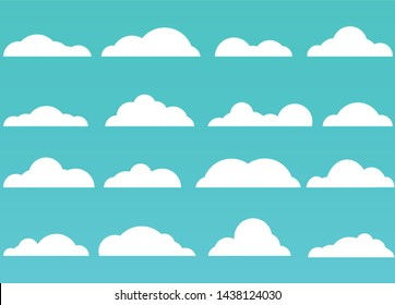 cloud collection with flat style and green background