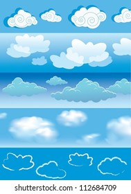 Cloud collection. The vector illustration of different kinds of clouds.