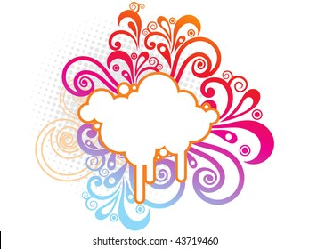 cloud with colorful abstract
