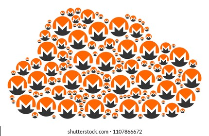 Cloud composition created with Monero currency components in variable sizes. Abstract vector store concept. Monero currency icons are organized into cloud figure.