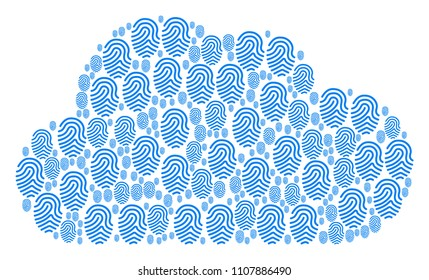 Cloud composition made with fingerprint pictograms in different sizes. Abstract vector storage representaion. Fingerprint icons are combined into cloud shape.
