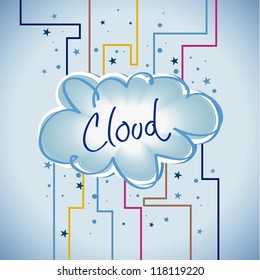 Cloud computing. Abstract lines with colors