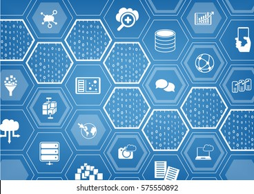 Cloud computing background with hexagon shapes and symbols