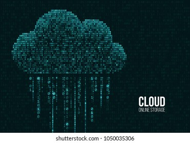 Cloud computing. Binary code of the cloud online storage concept. Vector illustration.
