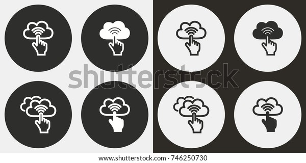 Cloud computing - black and white vector icons. Round buttons for graphic and web design.