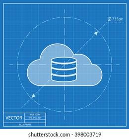 Cloud computing blueprint icon, vector illustration