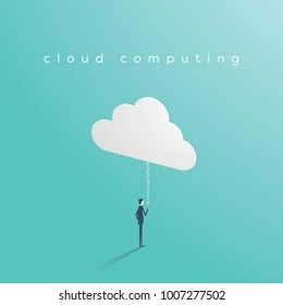 Cloud computing business technology concept with businessman uploading from smartphone to cloud. Eps10 vector illustration.